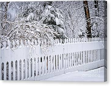 White Fence With Winter Trees Canvas Print