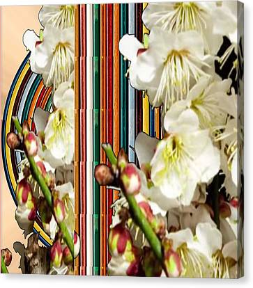 White Flower Medley Colorful Rainbow Stripes On The Backdrop Artist Navinjoshi  Canvas Print
