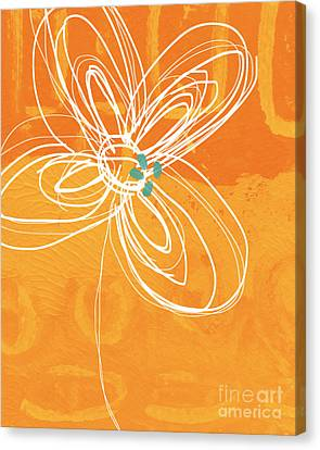Orange Canvas Print - White Flower On Orange by Linda Woods