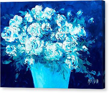 White Flowers On Blue Canvas Print by Jan Matson