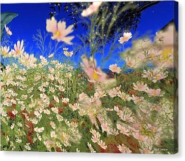 Canvas Print featuring the digital art White Flowers by Susanne Baumann