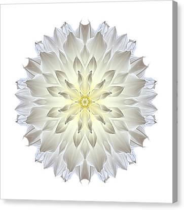 Giant White Dahlia I Flower Mandala White Canvas Print