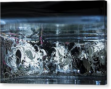 White Silver Fluid Motion 5 Canvas Print