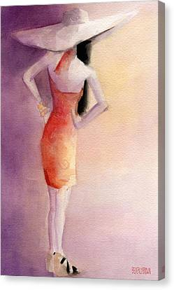 White Hat And Orange Sundress Fashion Illustration Art Print Canvas Print by Beverly Brown
