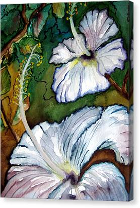 Canvas Print featuring the painting White Hibiscus by Lil Taylor