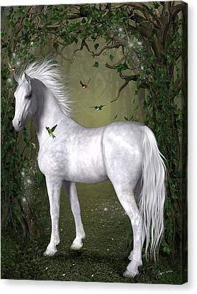 White Horse In The Woods Canvas Print