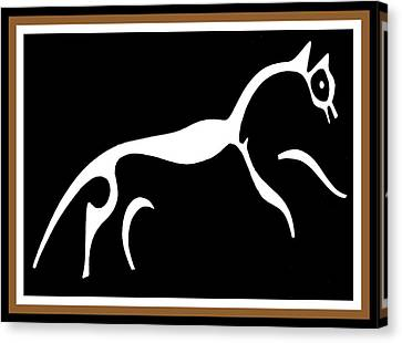 White Horse Of Uffington Canvas Print by Vagabond Folk Art - Virginia Vivier
