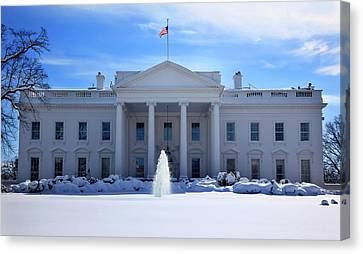 White House Fountain Flag After Snow Canvas Print