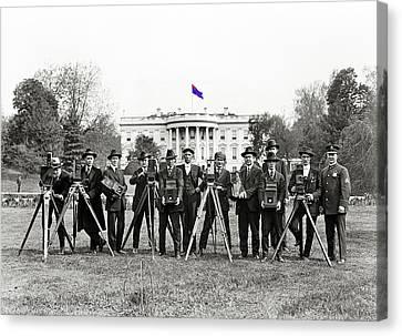 White House Photographers Harris And Ewing Glass Negative Washington D.c. 1918-2014 Canvas Print by David Lee Guss