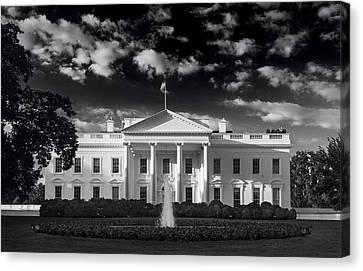 Whitehouse Canvas Print - White House Sunrise B W by Steve Gadomski