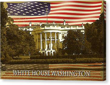 White House Washington In Red White Blue - Poster Art Canvas Print by Art America Gallery Peter Potter