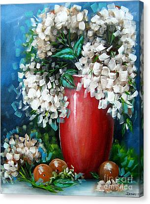Canvas Print featuring the painting White Hydrangeas by Patrice Torrillo