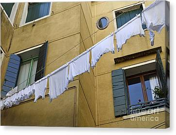 Canvas Print - White Laundry Hanging On Clothelines by Sami Sarkis
