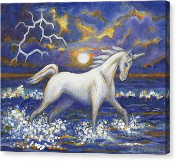 Unicorn Canvas Print - White Lightening by Linda Mears