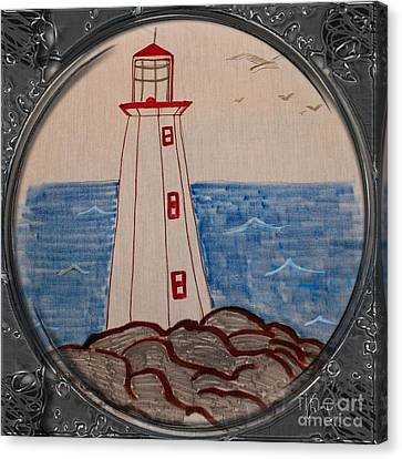 White Lighthouse - Porthole Vignette Canvas Print by Barbara Griffin