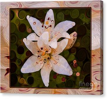 White Lily Opening To The Sun Abstract Flower Art Canvas Print by Omaste Witkowski