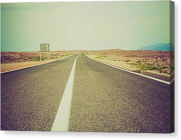 One Point Perspective Canvas Print - White Line On A Main Road by Wladimir Bulgar
