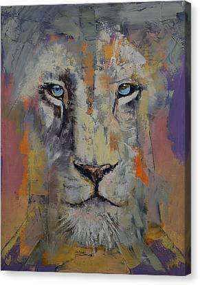 White Lion Canvas Print by Michael Creese