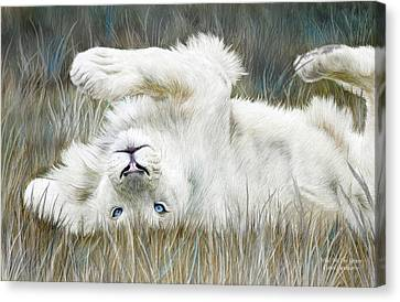 White Lion - Wild In The Grass Canvas Print by Carol Cavalaris