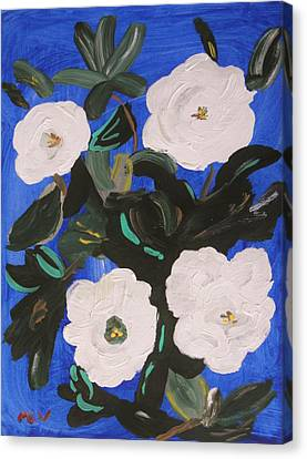 White Magnolias On Deep Blue Canvas Print by Mary Carol Williams