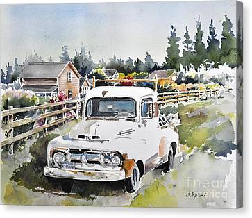 White Old Truck Parked Over The Fench Canvas Print