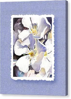 White Oleander On Vintage Blue Canvas Print by Irina Sztukowski