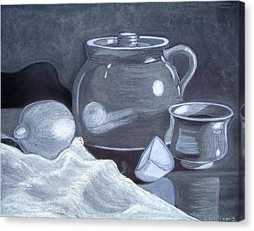 White On Black Still Life Canvas Print by Linda Williams