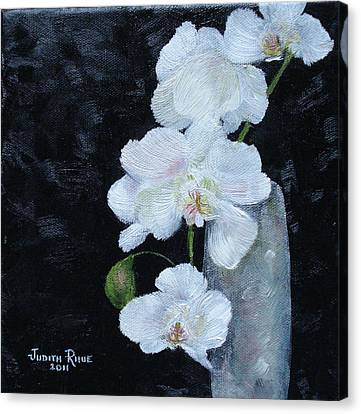 Canvas Print featuring the painting White Orchid by Judith Rhue