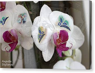 White Orchids And Butterfies Canvas Print