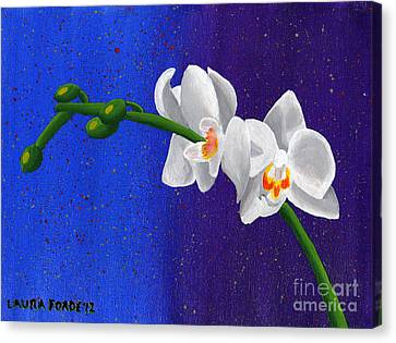 Canvas Print featuring the painting White Orchids by Laura Forde