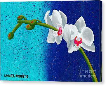 Canvas Print featuring the painting White Orchids On Blue by Laura Forde