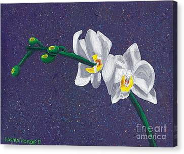 Canvas Print featuring the painting White Orchids On Dark Blue by Laura Forde