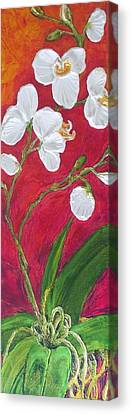 White Orchids On Red Canvas Print by Paris Wyatt Llanso