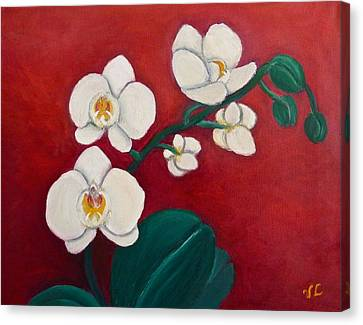 White Orchids Canvas Print by Victoria Lakes