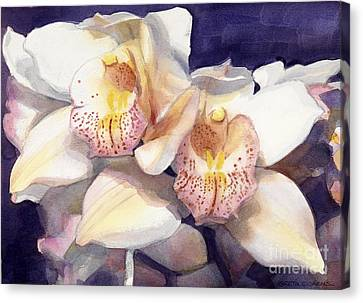 White Orchids Watercolor Canvas Print by Greta Corens