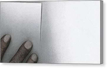 White Paper Dirty Fingers Canvas Print by Bob RL Evans
