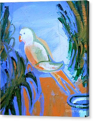 White Parakeet Canvas Print by Genevieve Esson