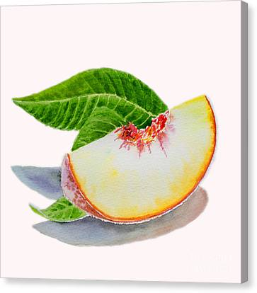 Country Kitchen Canvas Print - White Peach Slice  by Irina Sztukowski