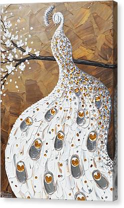 Peacock Canvas Print - White Peacock by Christine Krainock