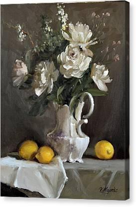 White Peonies Canvas Print