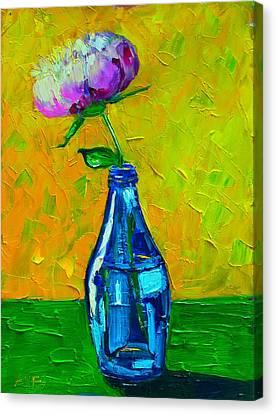 White Peony Into A Blue Bottle Canvas Print by Ana Maria Edulescu