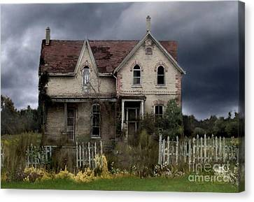 Haunted House Canvas Print - White Picket Fence by Tom Straub