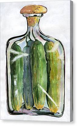 White Pickle Jar Art Canvas Print