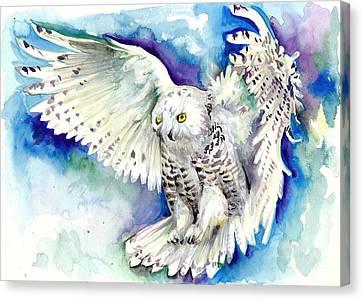 White Polar Owl - Wizard Dynamic White Owl Canvas Print by Tiberiu Soos