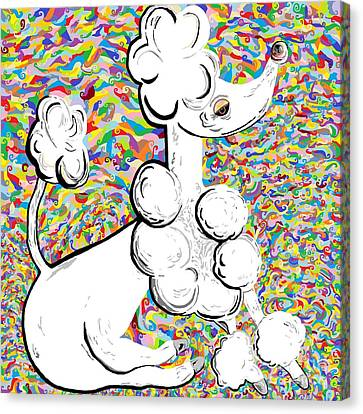 White Poodle Canvas Print by Eloise Schneider