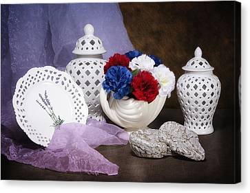 White Porcelain Still Life Canvas Print by Tom Mc Nemar
