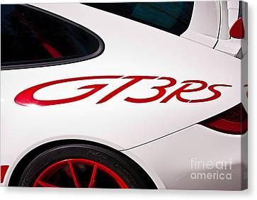 White Porsche Gt3rs - Rear Quarter Canvas Print
