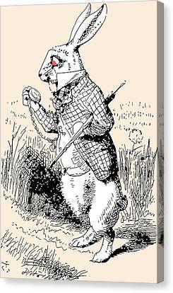 White Rabbit Alice In Wonderland Canvas Print by John Tenniel