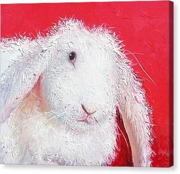 White Rabbit Painting Canvas Print by Jan Matson