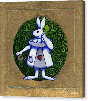 Canvas Print featuring the mixed media White Rabbit Wonderland by Donna Huntriss